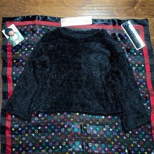 black punk top thrashed mohair sweater style